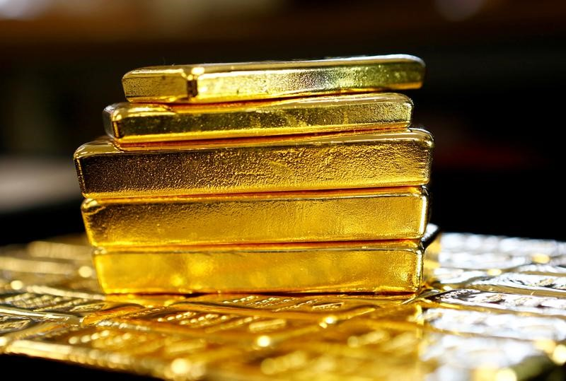 Gold bars are seen at the Austrian Gold and Silver Separating Plant 'Oegussa' in Vienna