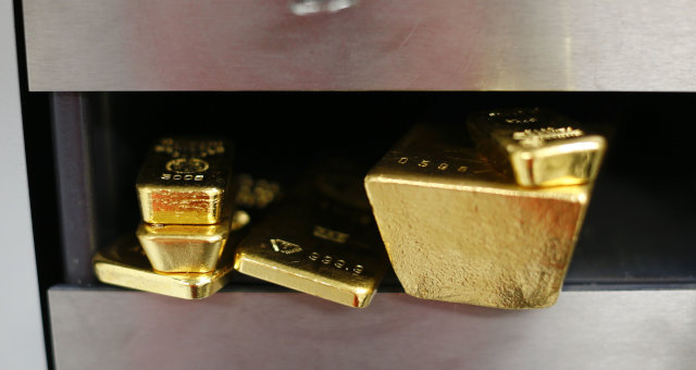 Gold Bullion Bars Sit In A Safety Deposit Box